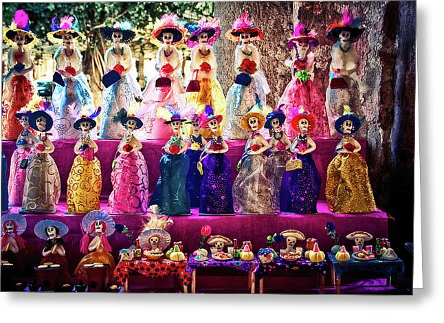 Greeting Card featuring the photograph Dia De Los Muertos Spooky Candy Catrinas by Tatiana Travelways