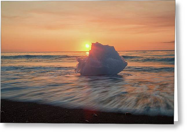 Greeting Card featuring the photograph Diamond Beach Sunrise Iceland by Nathan Bush