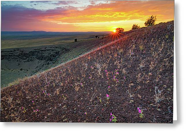 Diamond Craters Sunset Greeting Card by Leland D Howard