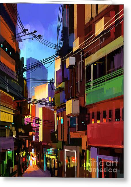 Digital Painting Of Colorful Buildings Greeting Card