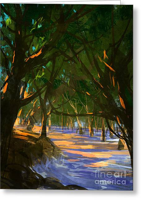 Digital Painting Of Forest On The Greeting Card