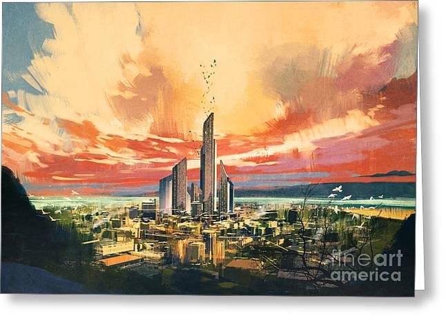 Digital Painting Of Futuristic Sci-fi Greeting Card