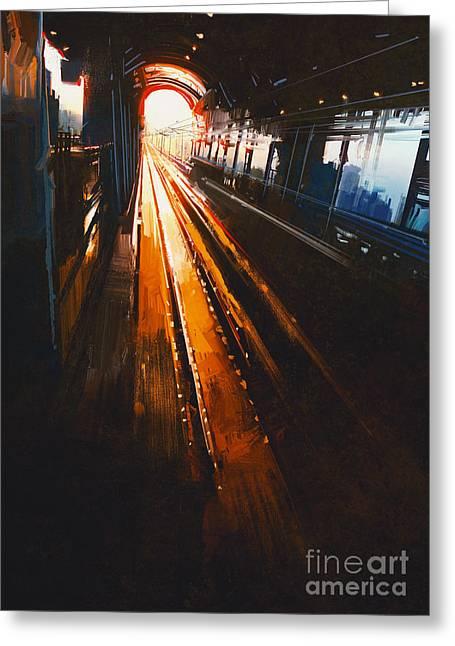 Digital Painting Of Railway Station Greeting Card