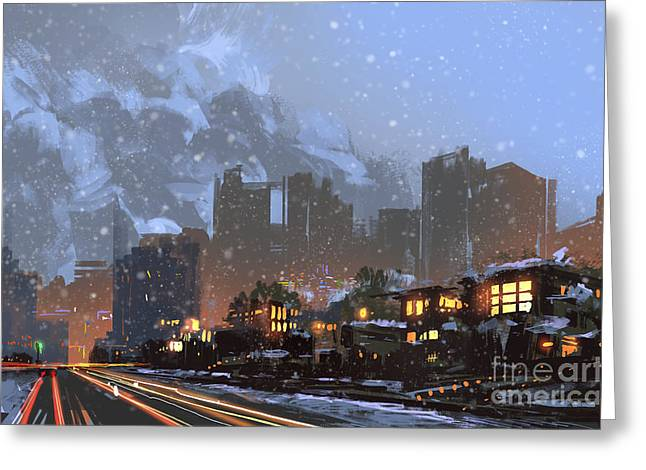 Digital Painting Of Winter City At Greeting Card