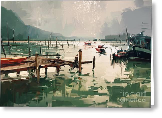 Digital Painting Showing Fishing Boats Greeting Card