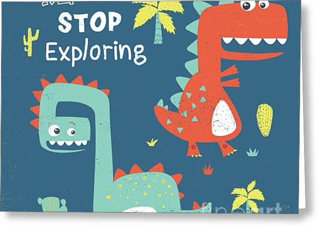 Dinosaur Illustration With Trees And Greeting Card