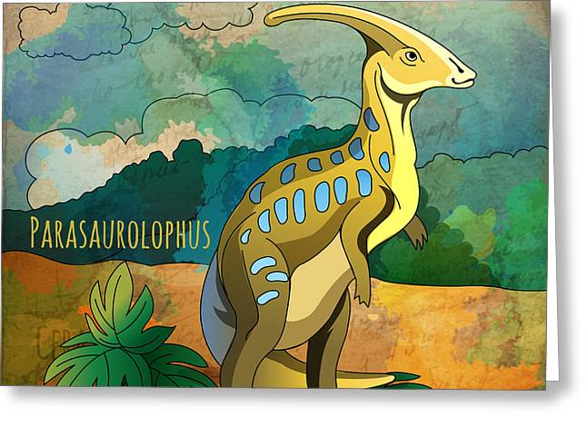 Dinosaur In The Habitat. Vector Greeting Card by Conceptcafe