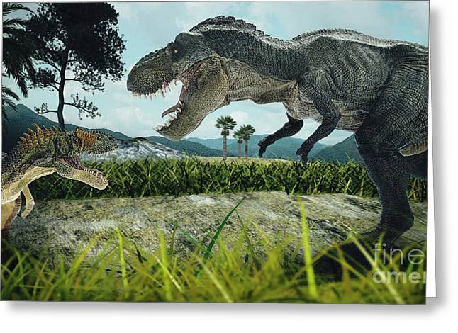 Dinosaur Scene Of The Two Dinosaurs Greeting Card