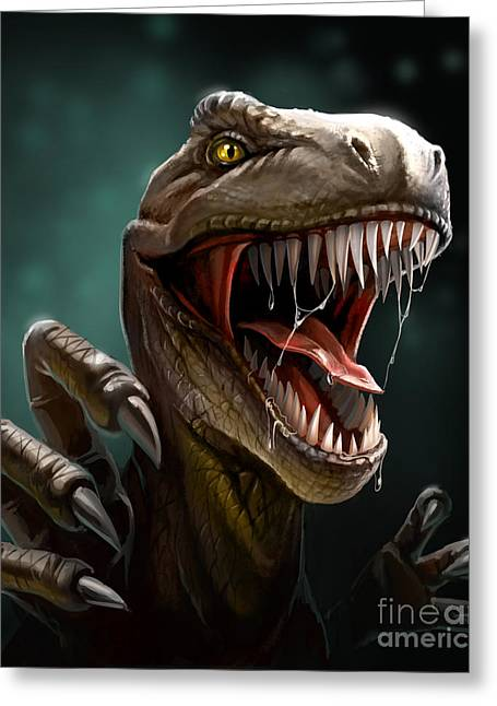 Dinosaur With Teeth And Claws, Close-up Greeting Card