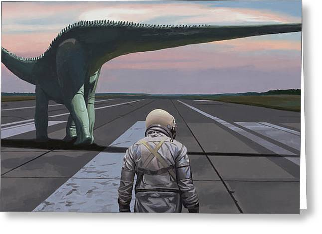 Greeting Card featuring the painting Diplodocus by Scott Listfield