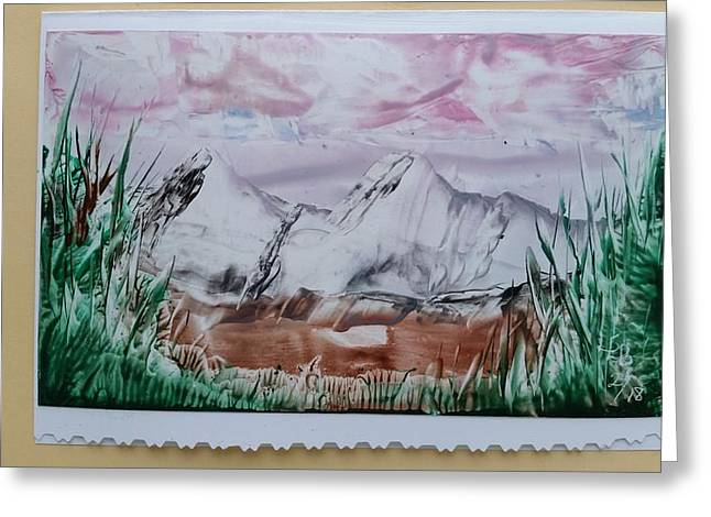 Distant Impressionistic Mountains Greeting Card