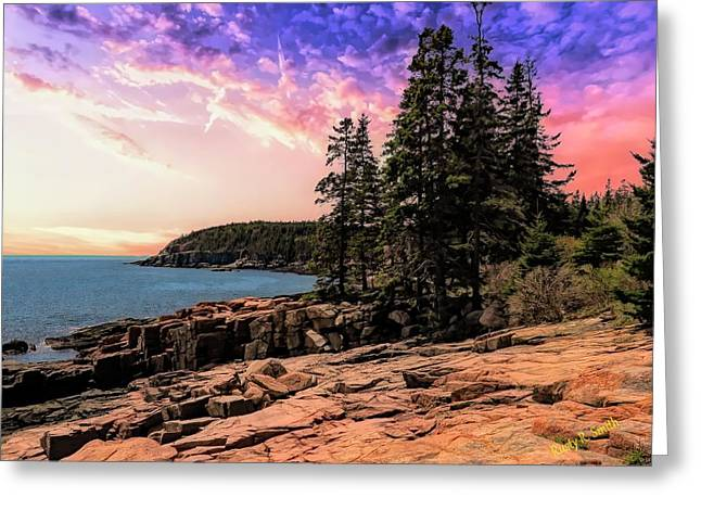 Distant View Of Otter Cliffs,acadia National Park,maine. Greeting Card