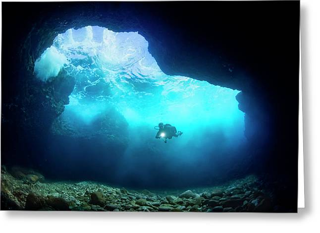 Diver Inside A Shallow Tide Pool Canyon Greeting Card