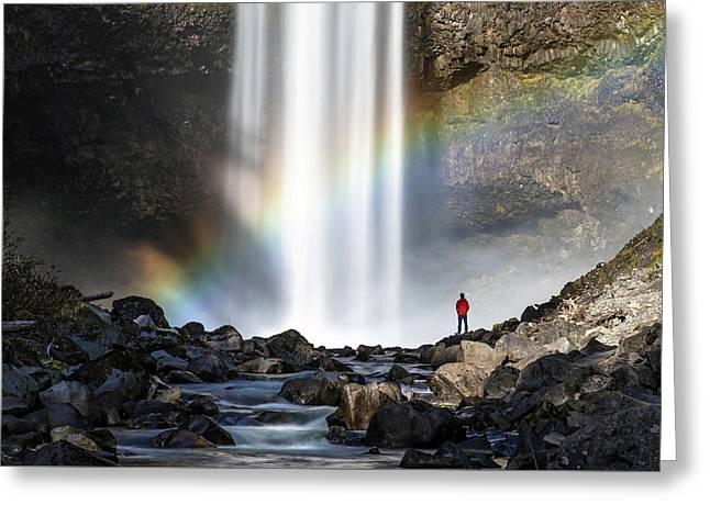 Greeting Card featuring the photograph Divine Hand Shadow At Brandywine Falls by Pierre Leclerc Photography