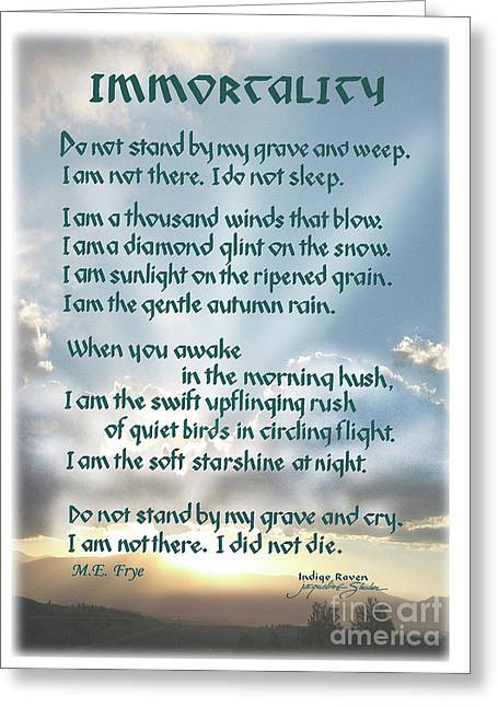 Do Not Stand At My Grave And Weep Greeting Card