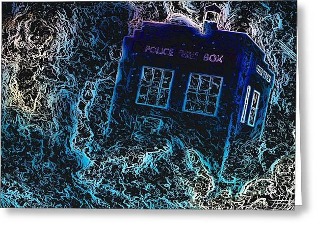 Greeting Card featuring the mixed media Doctor Who Tardis 3 by Al Matra