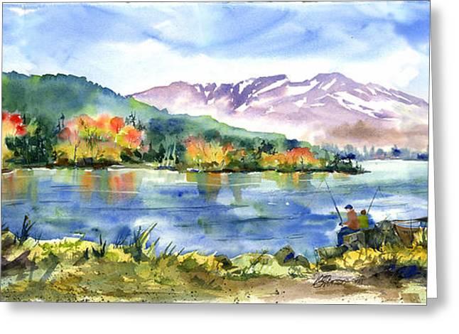 Donner Lake Fisherman Greeting Card