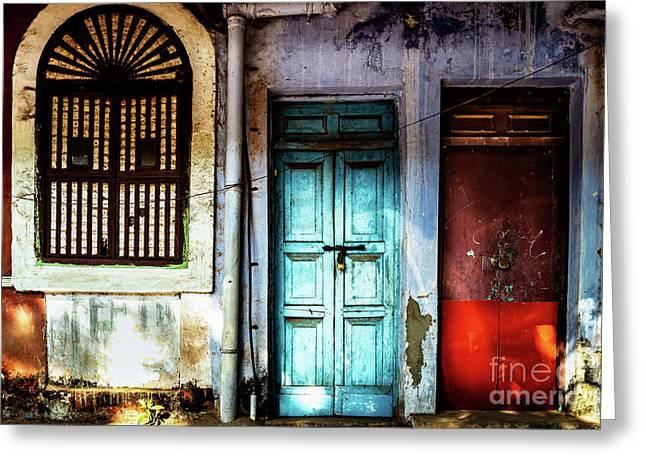 Doors Of India - Blue Door And Red Door Greeting Card