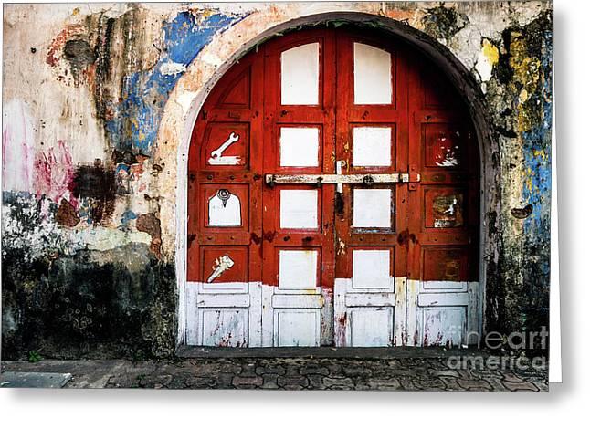 Doors Of India - Garage Door Greeting Card