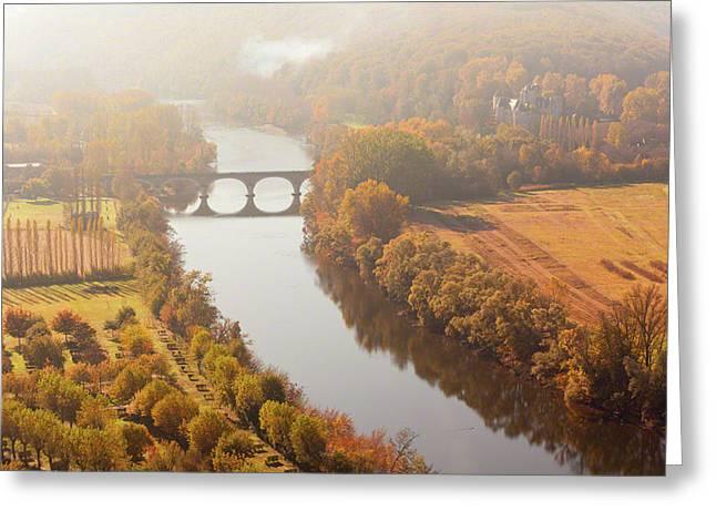 Dordogne River In The Mist Greeting Card