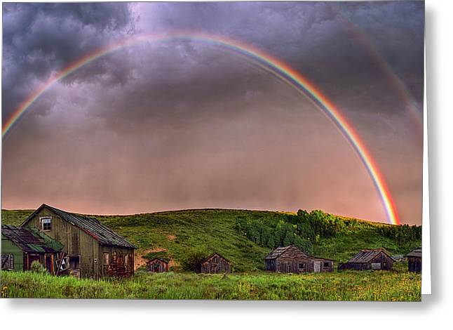 Double Rainbow Rebirth Greeting Card