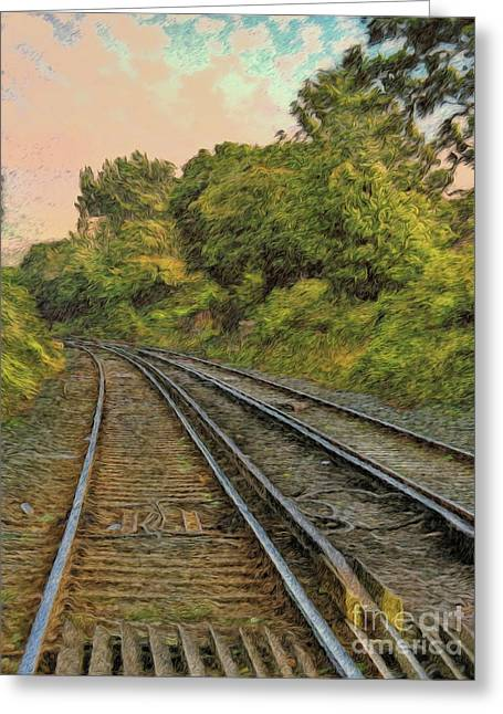 Greeting Card featuring the photograph Down The Track by Leigh Kemp