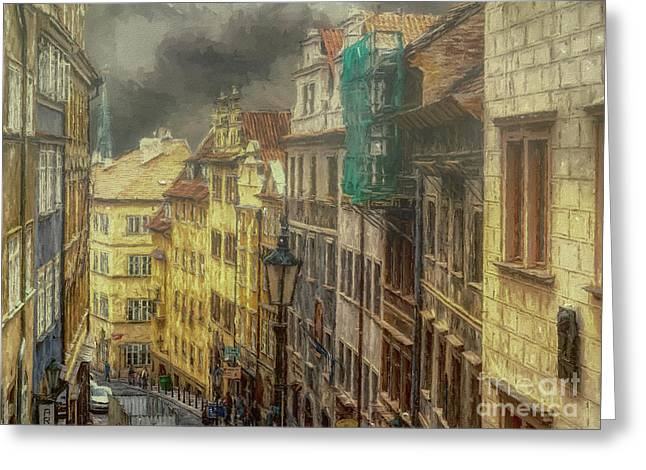 Downhill, Downtown, Prague Greeting Card
