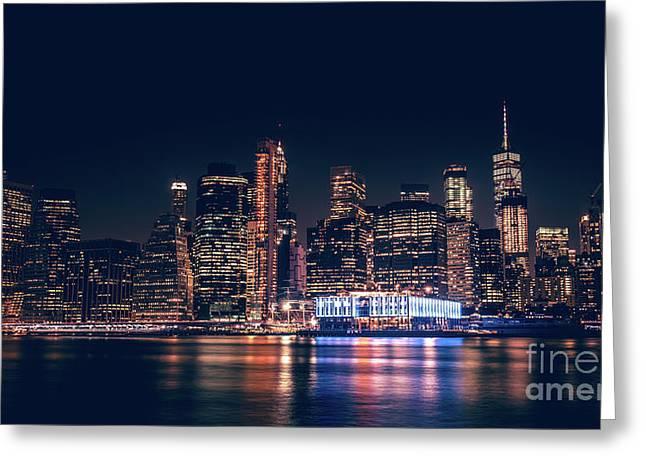 Downtown At Night Greeting Card