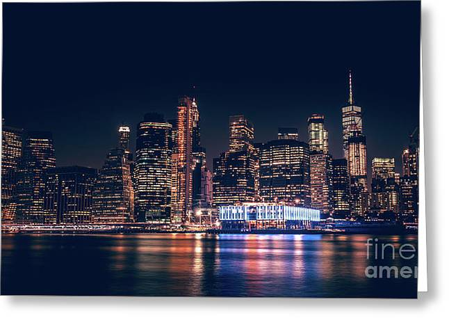 Greeting Card featuring the photograph Downtown At Night by Dheeraj Mutha