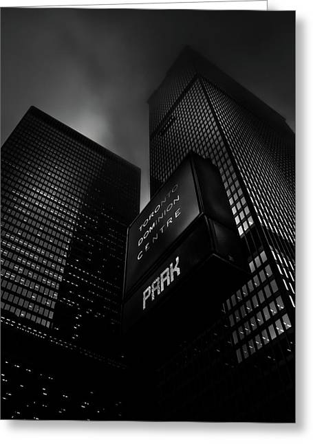 Greeting Card featuring the photograph Downtown Toronto Fogfest No 16 by Brian Carson