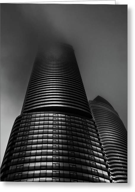 Greeting Card featuring the photograph Downtown Toronto Fogfest No 21 by Brian Carson