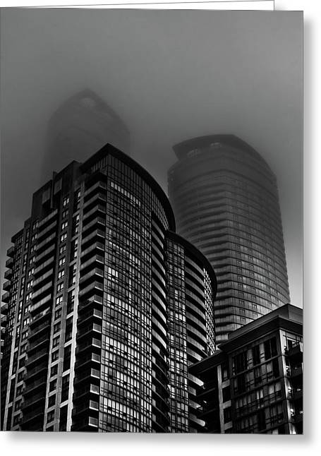 Greeting Card featuring the photograph Downtown Toronto Fogfest No 22 by Brian Carson