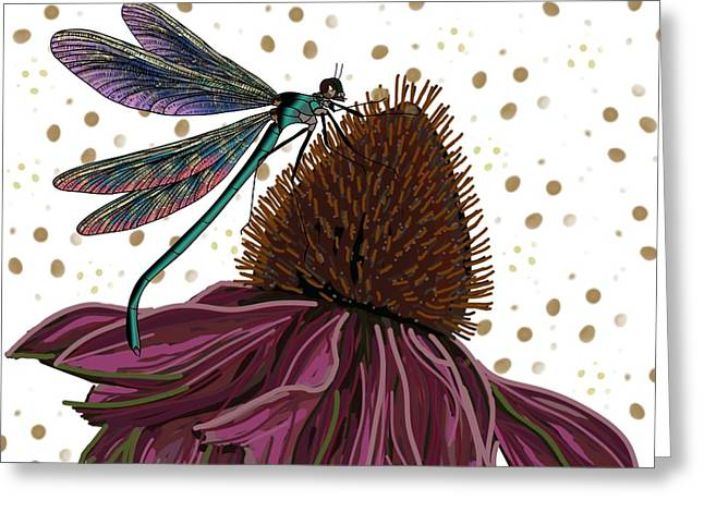 Dragon Fly And Echinacea Flower Greeting Card