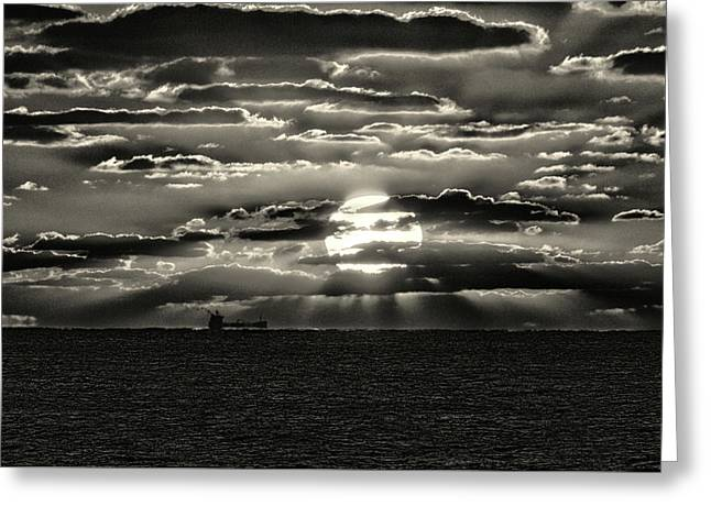 Greeting Card featuring the photograph Dramatic Atlantic Sunrise With Ghost Freighter In Monochrome by Bill Swartwout Fine Art Photography