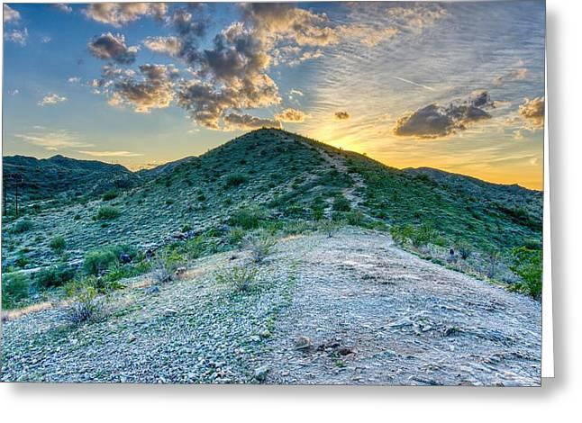 Dramatic Mountain Sunset Greeting Card
