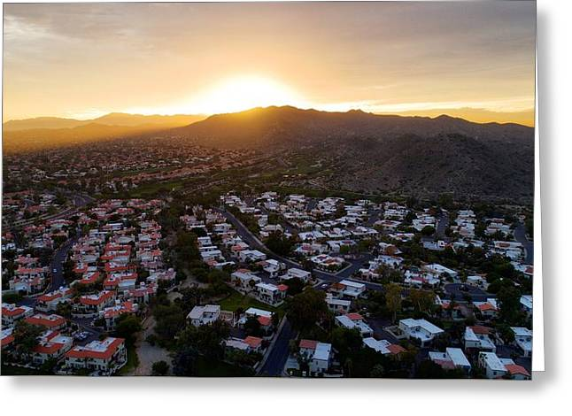 Dramatic South Mountain Sunset Greeting Card