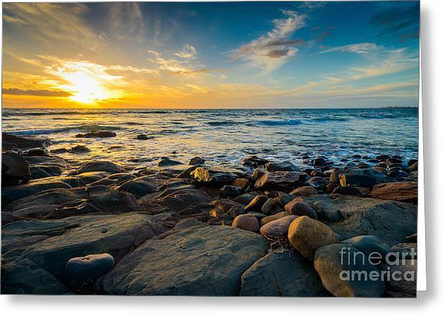 Dramatic Sunset On The Rocky Beach Greeting Card