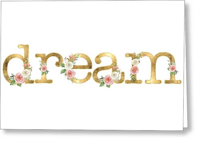 Dream - Blush Pink Floral Word Art Decor Greeting Card