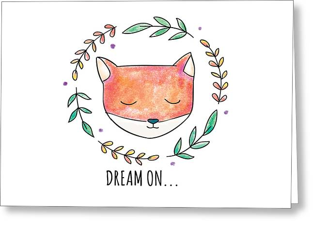 Dream On - Boho Chic Ethnic Nursery Art Poster Print Greeting Card