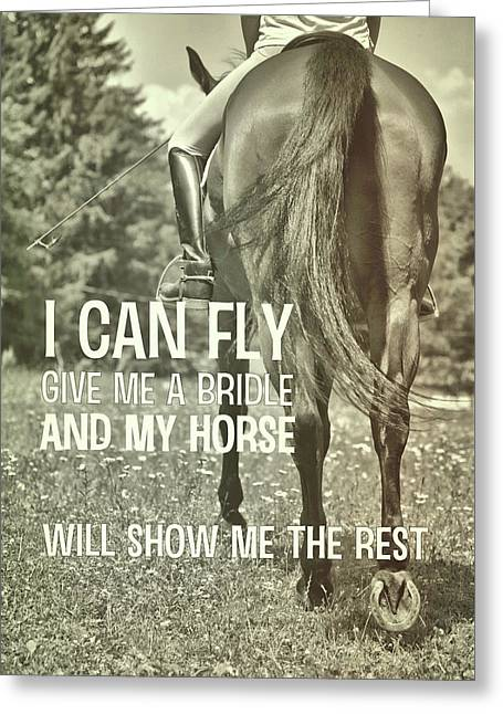 Dressage In The Daisies Quote Greeting Card by JAMART Photography