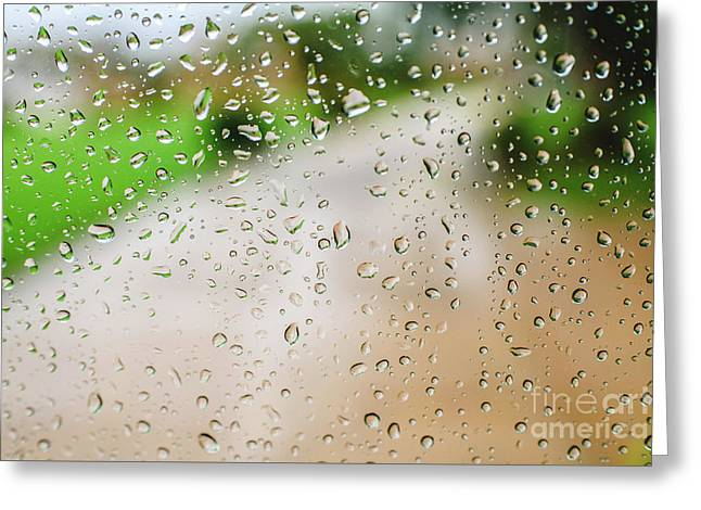 Drops Of Rain On An Autumn Day On A Glass. Greeting Card