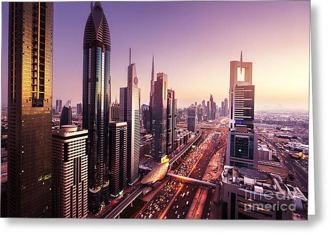 Dubai Skyline In Sunset Time, United Greeting Card