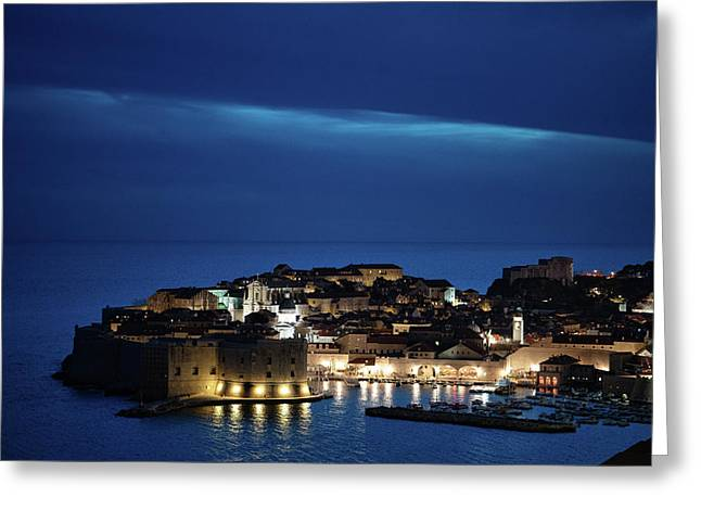 Greeting Card featuring the photograph Dubrovnik Old Town At Night by Milan Ljubisavljevic
