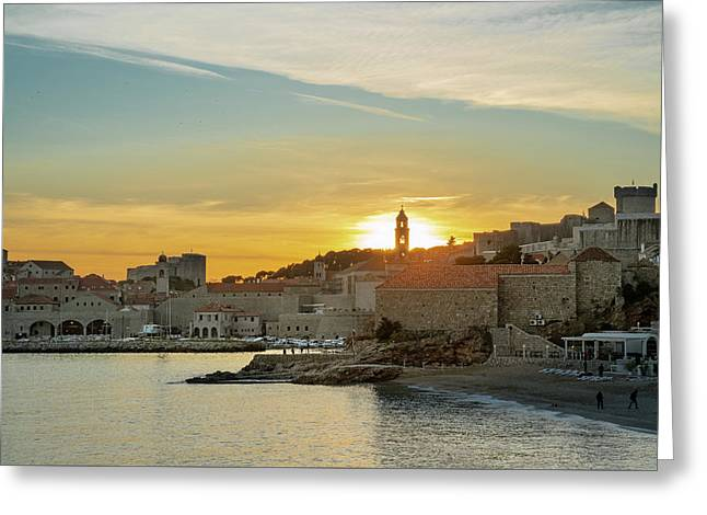 Greeting Card featuring the photograph Dubrovnik Old Town At Sunset by Milan Ljubisavljevic