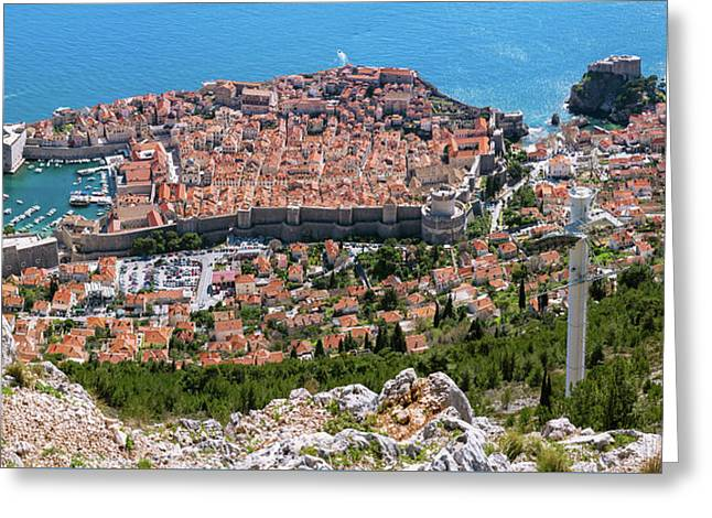 Greeting Card featuring the photograph Dubrovnik Panorama From The Hill by Milan Ljubisavljevic