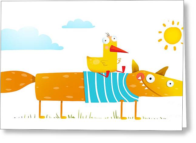 Duck Sitting On Fox Friends. . Animal Greeting Card