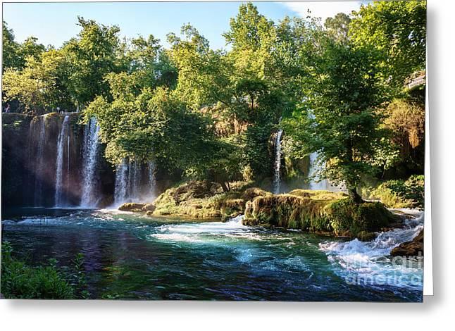 Duden Waterfall Antalya Turkey. Summer Greeting Card