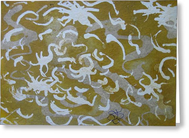 Dull Yellow With Masking Fluid Greeting Card