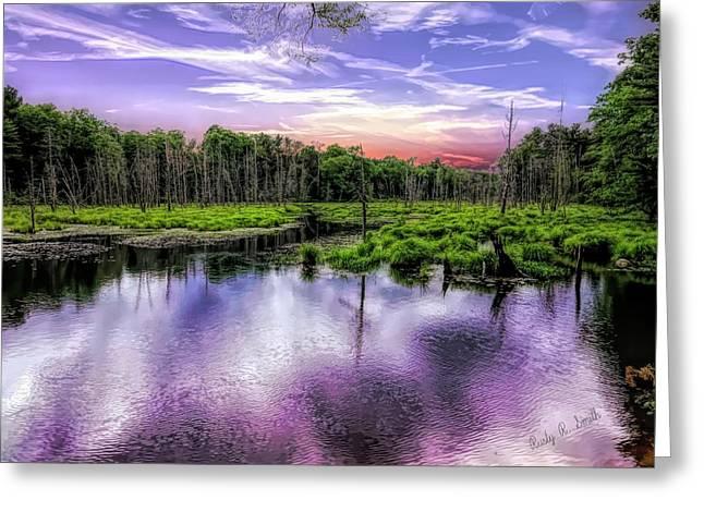Dusk Falls Over New England Beaver Pond. Greeting Card