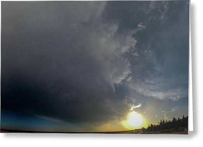Dying Nebraska Thunderstorms At Sunset 010 Greeting Card